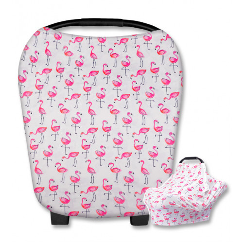 CC020 White Pink Flamingos Carrier Cover