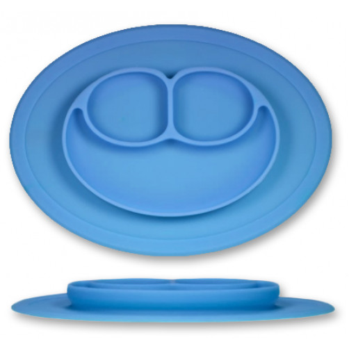 PLATE: Med Blue 3-Compartment Plate