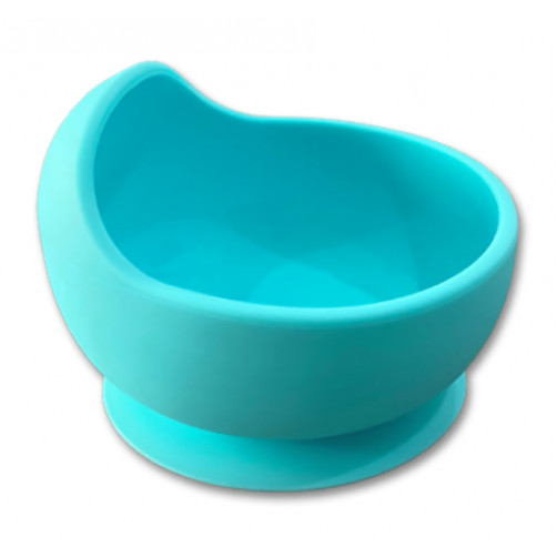 Light Blue Small Suction Bowl with Lip