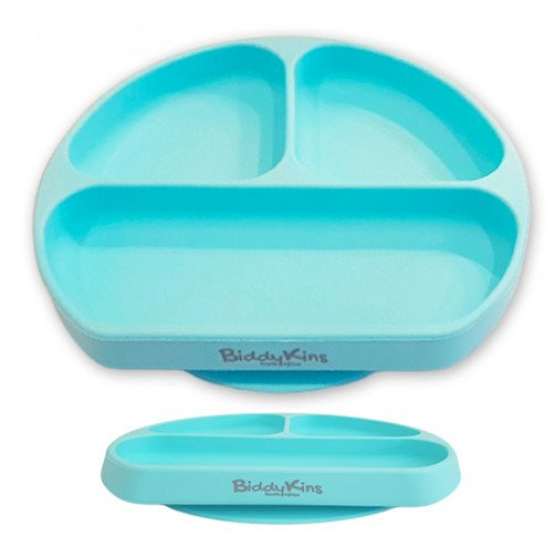 3 Division Silicone Suction Plate: Blue
