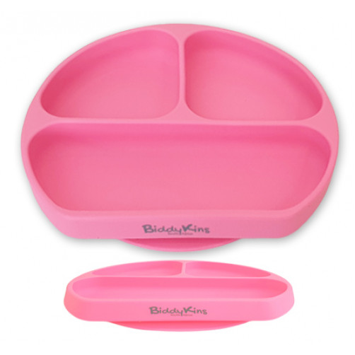 3 Division Silicone Suction Plate: Pink