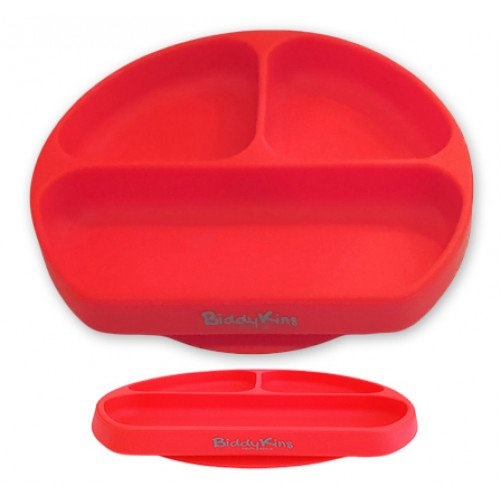 3 Division Silicone Suction Plate: Red