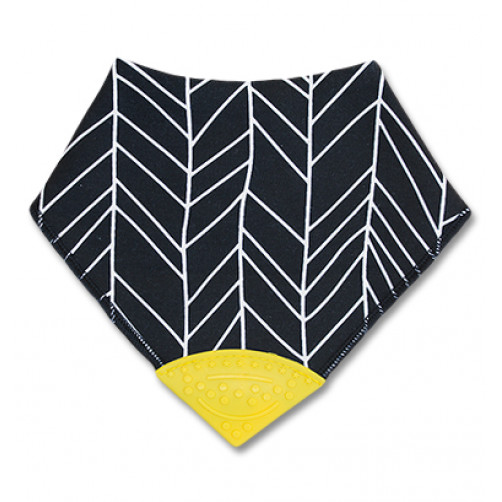 Black With White Pattern Teether Bib