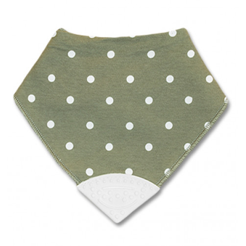 Grey With White Polka Dot Teether Bib
