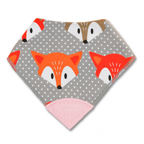 Orange & Grey Foxes Teether Bib