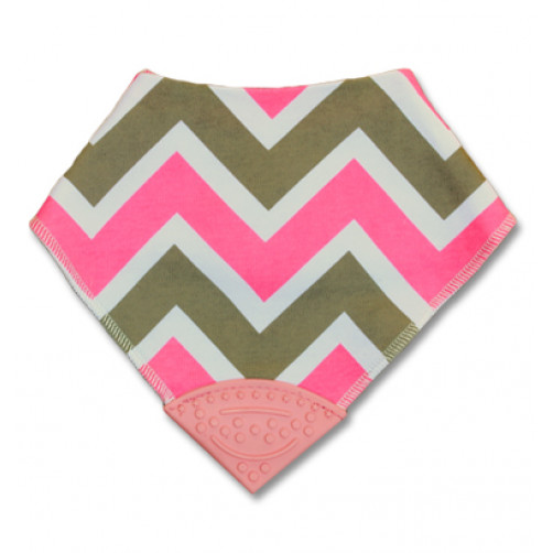 Pink & Tan Chevron Teether Bib