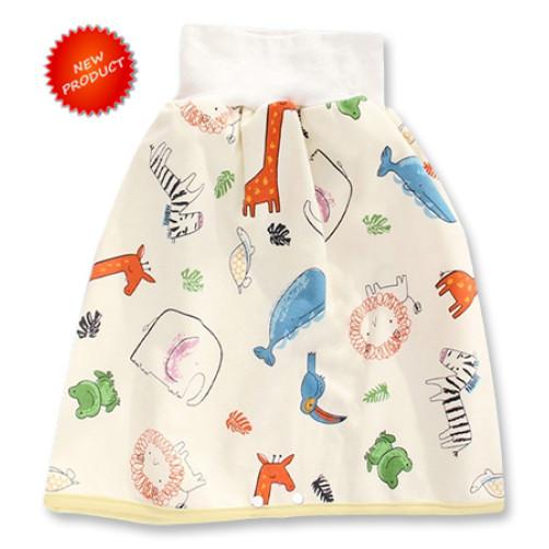 Nighttime Waterproof Skirt-Pants: Cream Animals