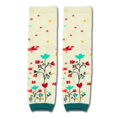 LW005 Cream flowers Leg Warmers