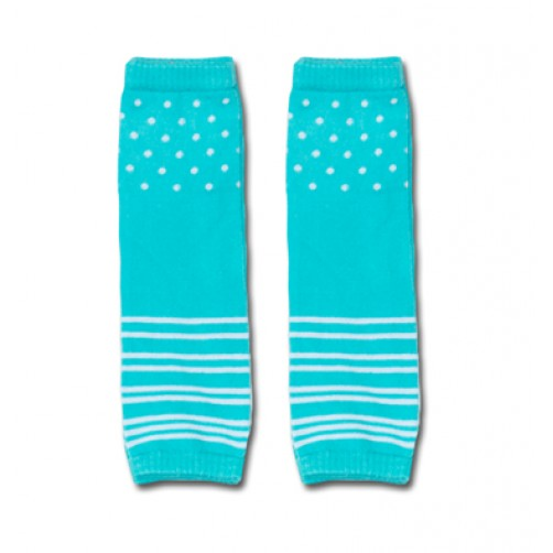 LW014 Turquoise Spots and Stripes Leg Warmers