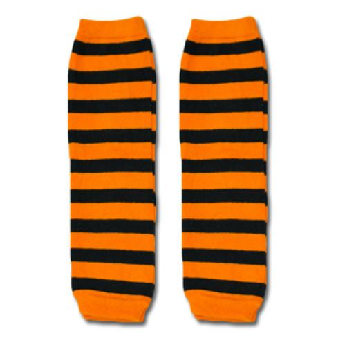 LW019 Orange Black Stripe Leg Warmers