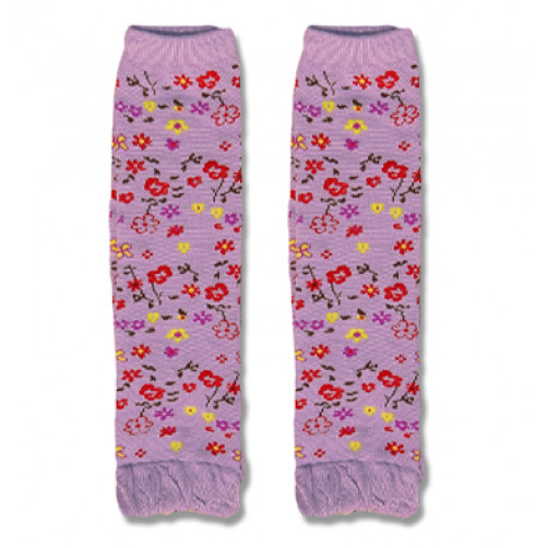 LW030 Purple with Red Yellow Flowers Leg Warmers