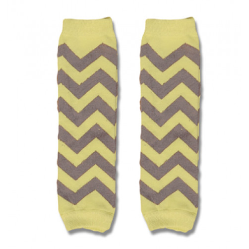 LW034 Yellow Grey Chevron Leg Warmers