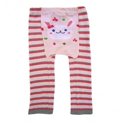 LGL008 Pink Grey Stripe Bunny Large