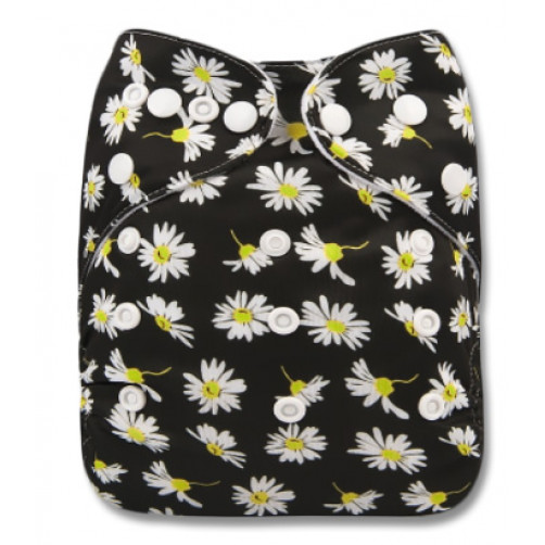F245 Black Small White Daisies Ai1