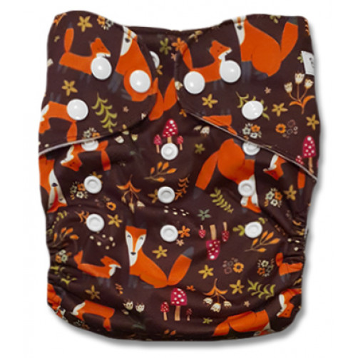 CH110 Brown Orange Foxes Charcoal Pocket