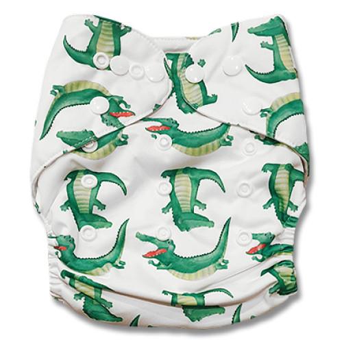 PC075 White Green Crocodiles PUL Cover