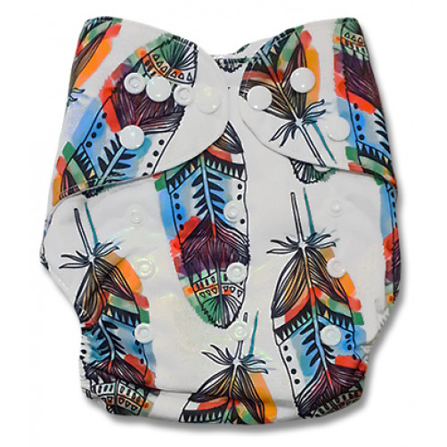 PC077 White Large Multicolor Feathers PUL Cover