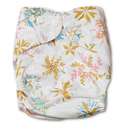 PC064 Gold Pink Blue Flowers PUL Cover