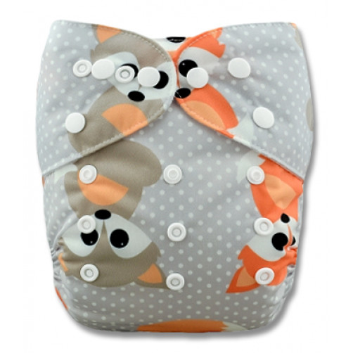 PC016 Grey Orange Baby Foxes PUL Cover