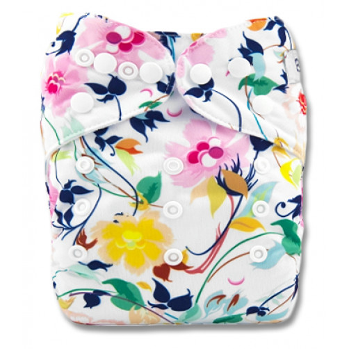 PC011 Yellow Navy Pink Floral PUL Cover
