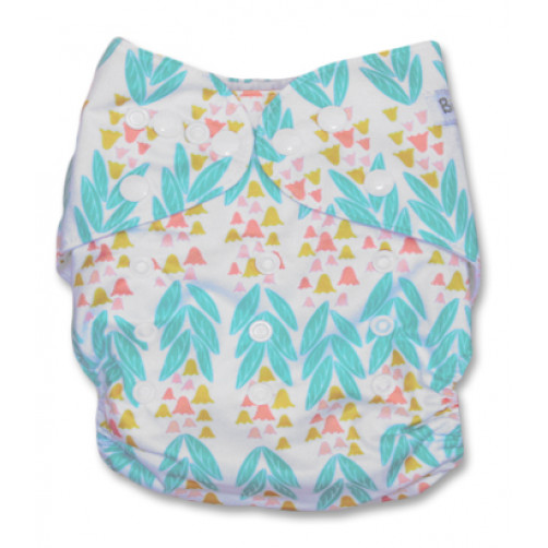 NbDG023 Aqua Leaves Pink Bells Newborn DGusset Cover