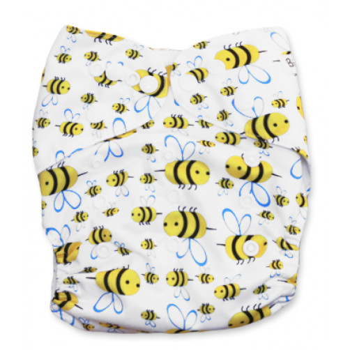 NbDG021 White with Bees Newborn DGusset Cover