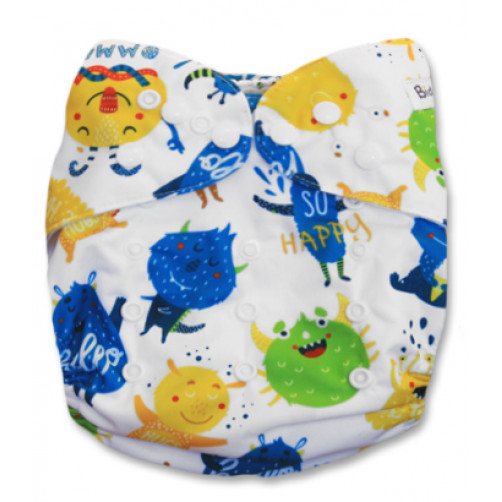 J064 Green Yellow Blue Monsters Newborn Cover