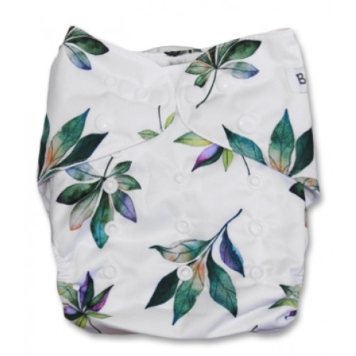 J047 White Green Autumn Leaves Newborn Cover