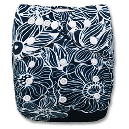 C015 Dark White Floral Position Print