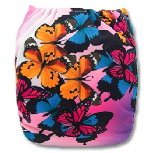 C050 Pink Orange Butterflies Position Print