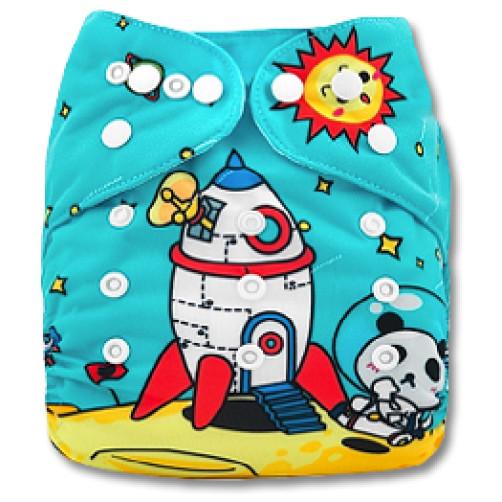 C076 Panda and Moon Rocket Position Print