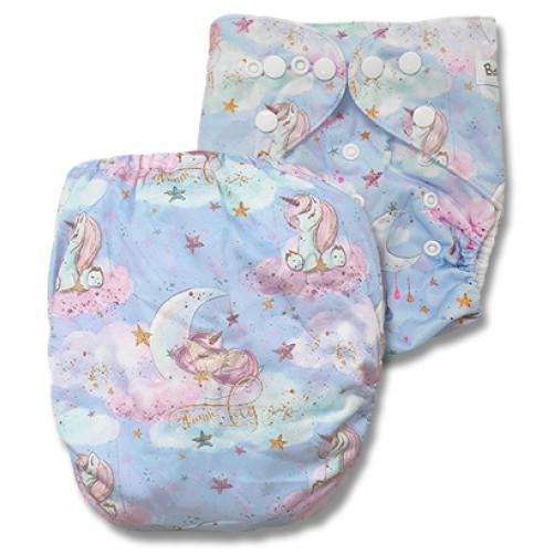 C117 Pink Aqua Sleeping Unicorn Position Print