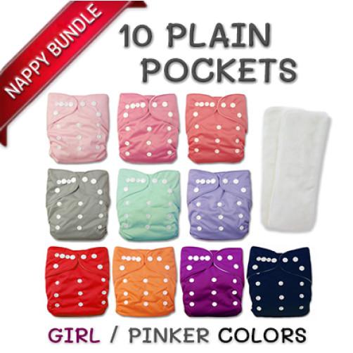 BUNDLE: 10 Plain Pockets (GIRL/PINK)