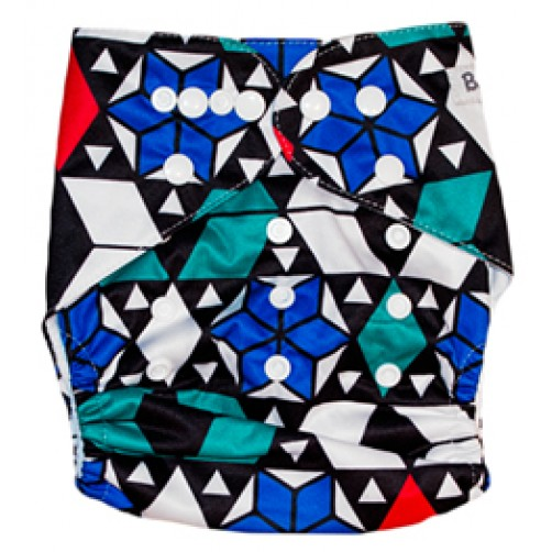 B001 Blue Green Red Geometric Print