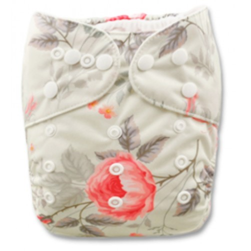 B034 Cream with Pink Flower & Butterflies
