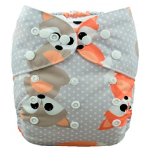 B035 Grey Amp Orange Baby Foxes Print Pocket Cloth Nappy