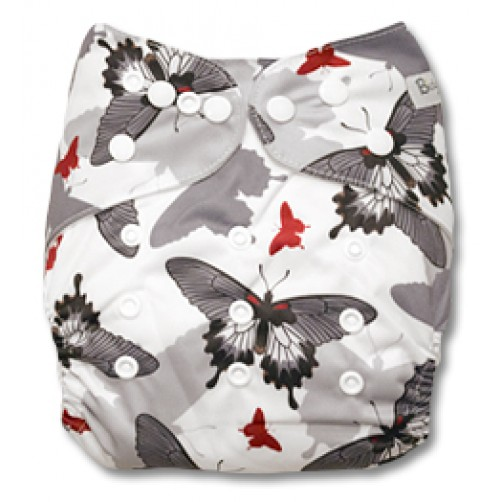 B044 Black Grey Red Butterflies