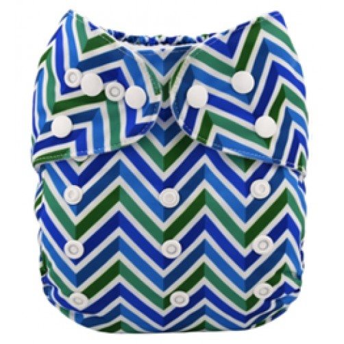 B063 Blue & Green Chevron