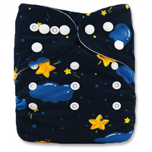 B105 Blue Clouds with Yellow Stars