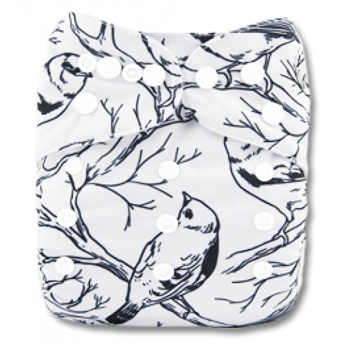 B189 White Bird in Branches Print