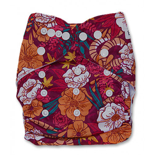 PC036 Orange Burgundy Floral PUL Cover