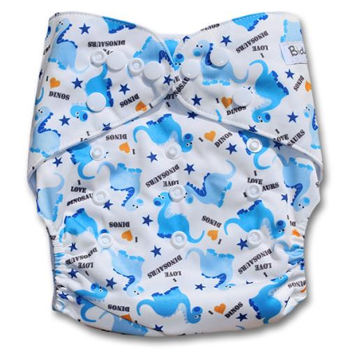 B196 White Blue Dinos Print Pocket