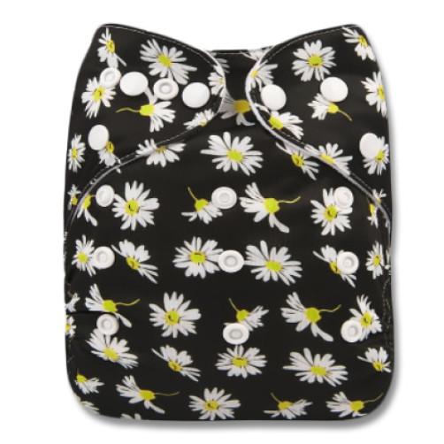 B286 Black Small White Daisies Pocket