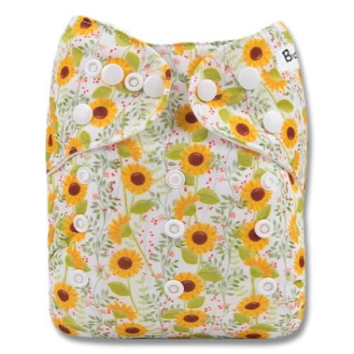 B299 Green Yellow Small Sunflowers Pocket