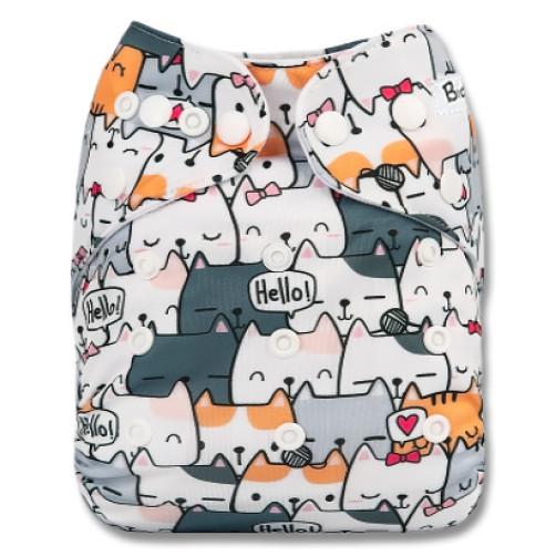 B287 Grey Hello Cats Pocket