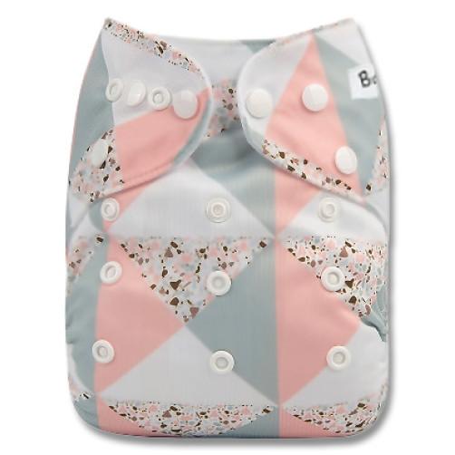 B298 Pink Grey Triangles Pocket
