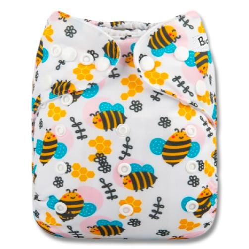 B285 Pink Circle Bees Pocket