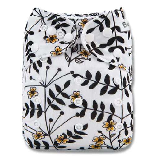 B292 Black Twigs Yellow Flower Pocket