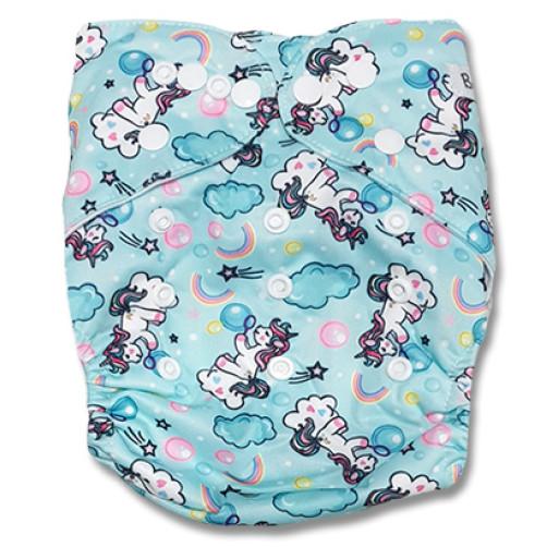 B252 Aqua Clouds & Ponies Pocket