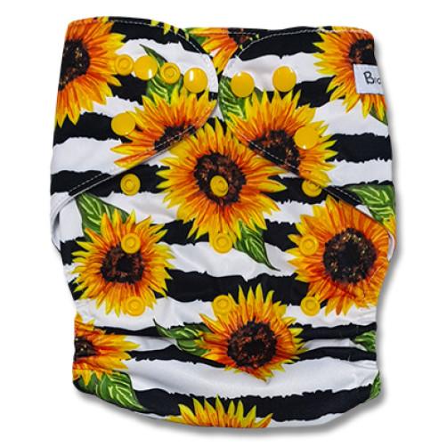 B251Black Stripe Yellow Flower Pocket